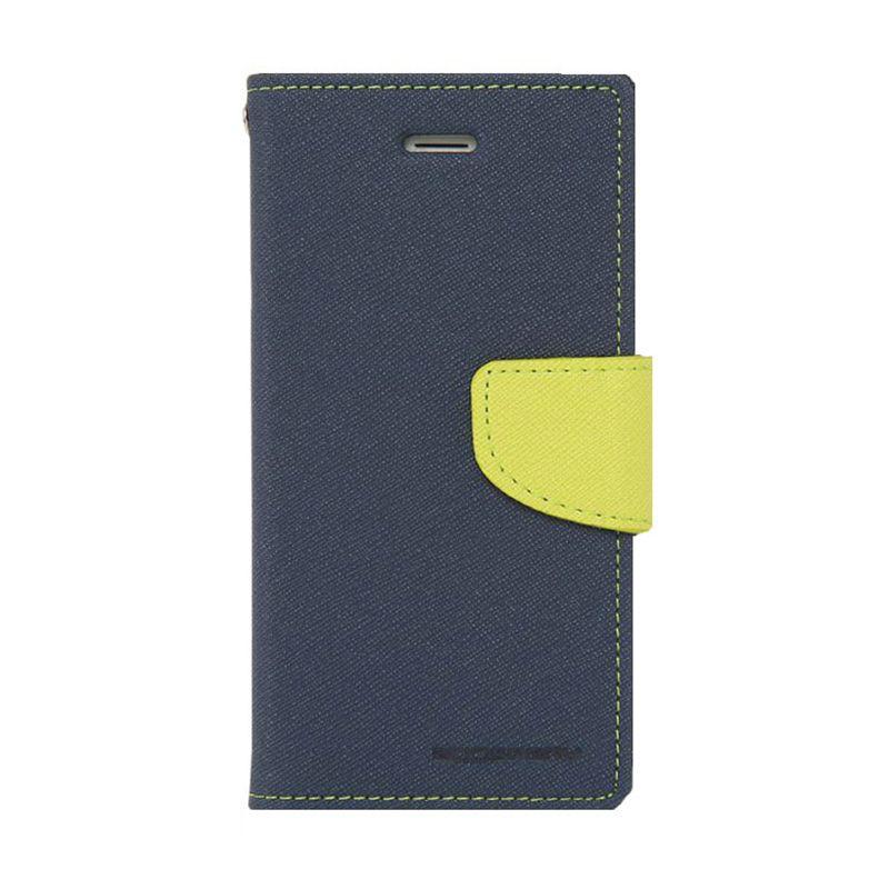 Mercury Goospery Fancy Diary Navy Lime Flip Cover Casing for LG G3