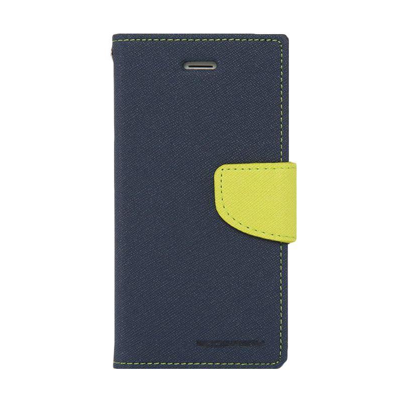Mercury Goospery Fancy Diary Navy Lime Flip Cover Casing for Oppo Find 7