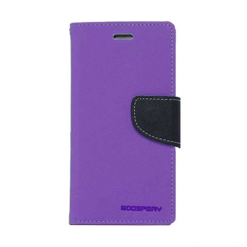 Mercury Goospery Fancy Diary Purple Navy Casing for Iphone 4 or 4S