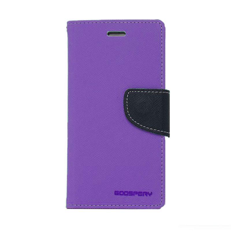 Mercury Goospery Fancy Diary Purple Navy Flip Cover Casing for Galaxy Note 4