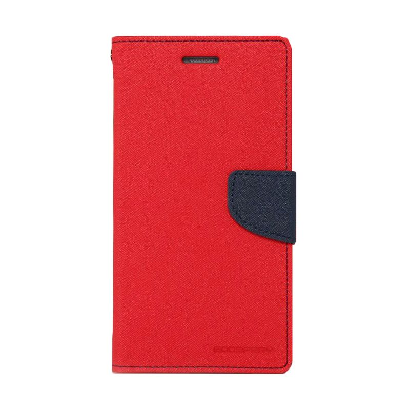 Mercury Goospery Fancy Diary Red Navy Casing for Galaxy Ace 4 or Ace NXT