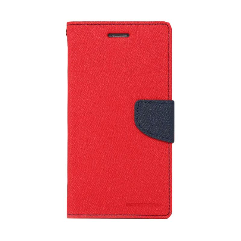 Mercury Goospery Fancy Diary Red Navy Casing for Samsung Galaxy E7