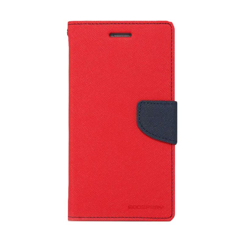 Mercury Goospery Fancy Diary Red Navy Casing for Samsung Galaxy S6 Edge