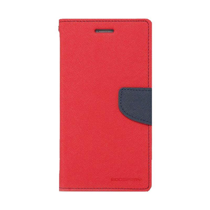 Mercury Goospery Fancy Diary Red Navy Flip Cover Casing for Asus Zenfone 6