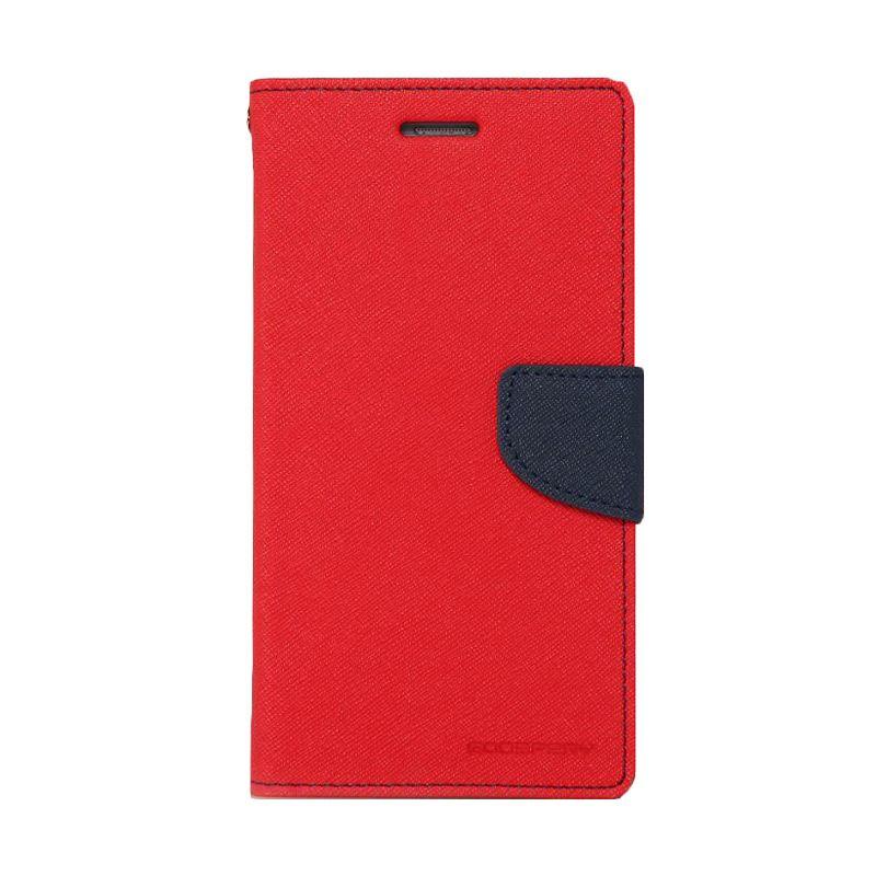 Mercury Goospery Fancy Diary Red Navy Flip Cover Casing for Oppo R5