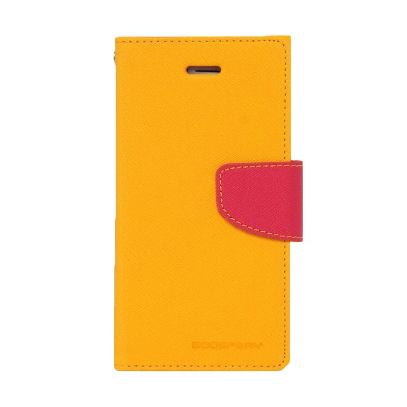 Mercury Goospery Fancy Diary Yellow Hot Pink Casing for Galaxy Ace 4 or Ace NXT