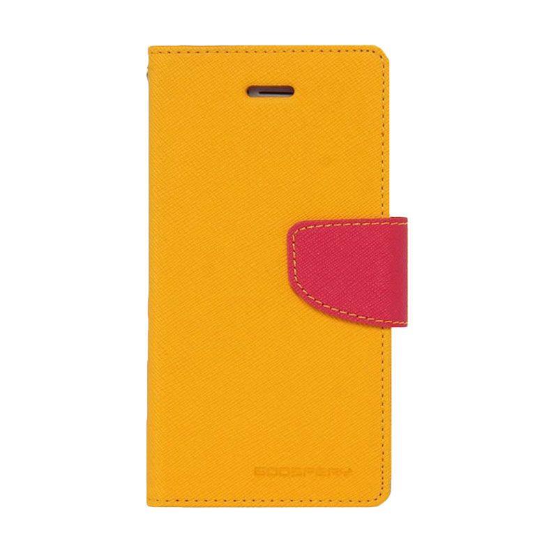 Mercury Goospery Fancy Diary Yellow Hot Pink Casing for Galaxy Mega 2