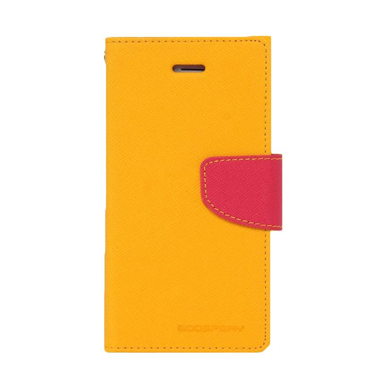 Mercury Goospery Fancy Diary Yellow Hot Pink Casing for HTC New One