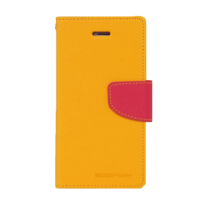 Mercury Goospery Fancy Diary Yellow Hot Pink Casing for Galaxy Ace 3