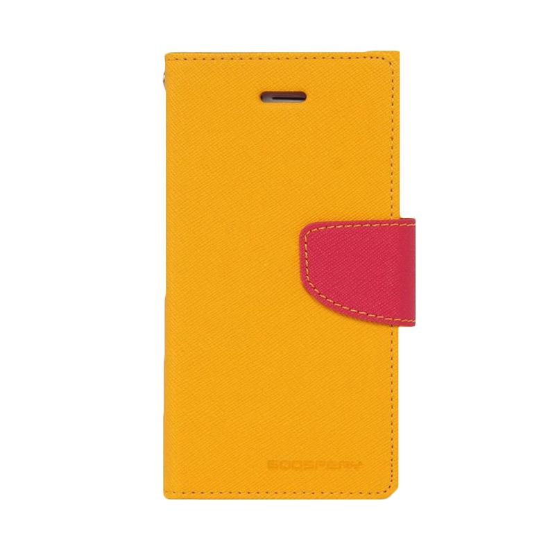Mercury Goospery Fancy Diary Yellow Hot Pink Casing for Galaxy E5