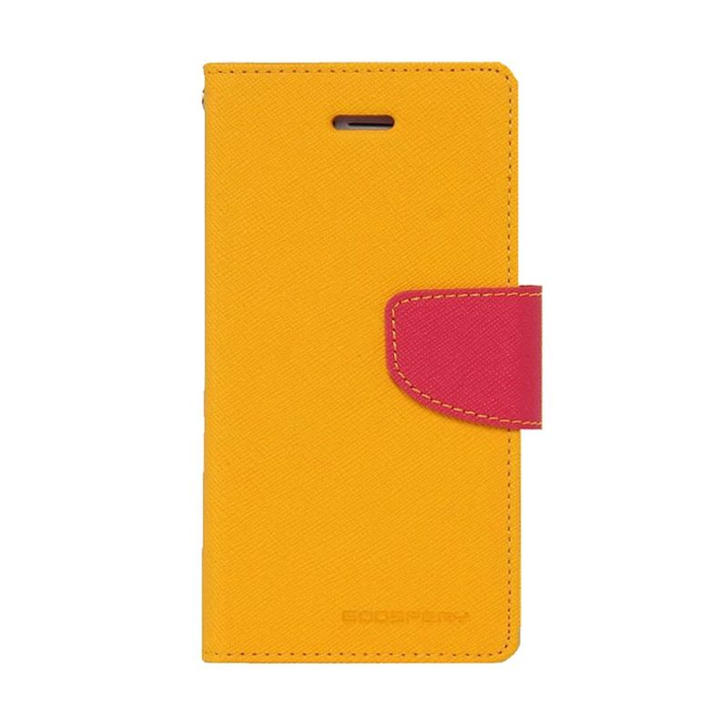 Mercury Goospery Fancy Diary Yellow Hot Pink Casing for Galaxy Grand 1 or Grand neo