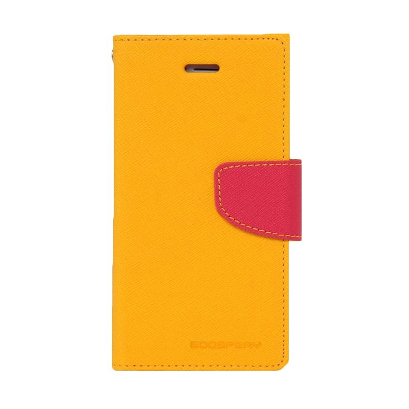 Mercury Goospery Fancy Diary Yellow Hot Pink Casing for Galaxy J1