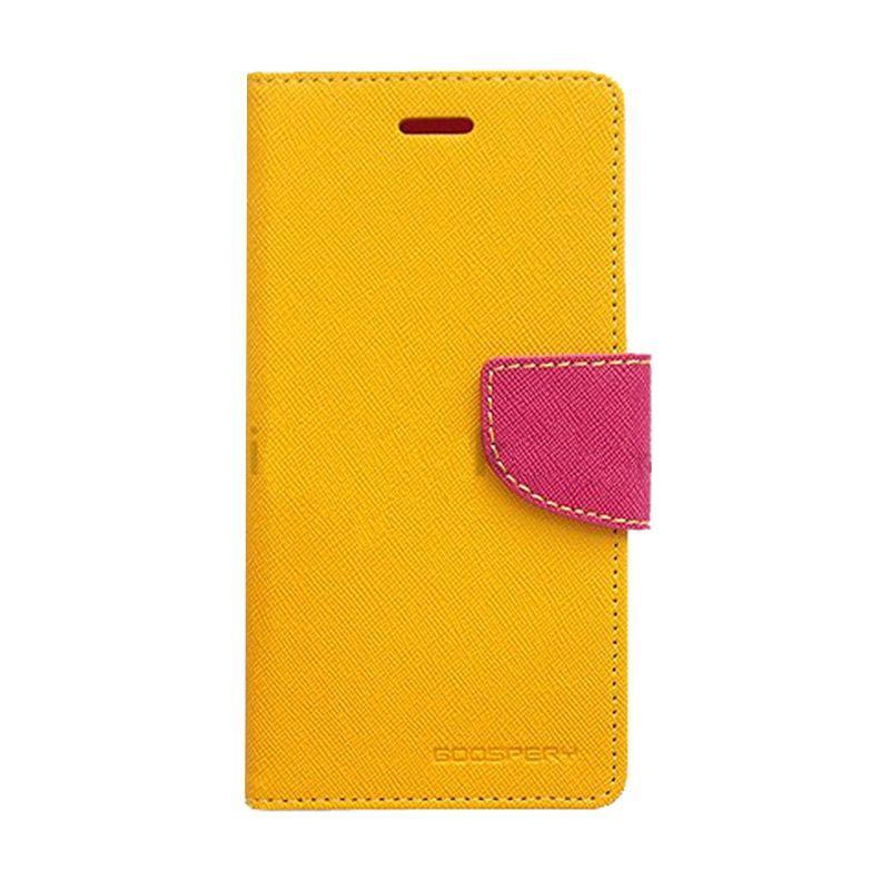 Mercury Goospery Fancy Diary Yellow Hotpink Casing for Galaxy S4