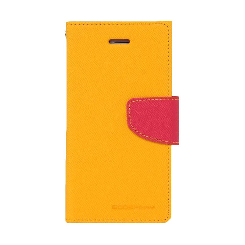 Mercury Goospery Fancy Diary Yellow Hot Pink Casing for HTC One Mini