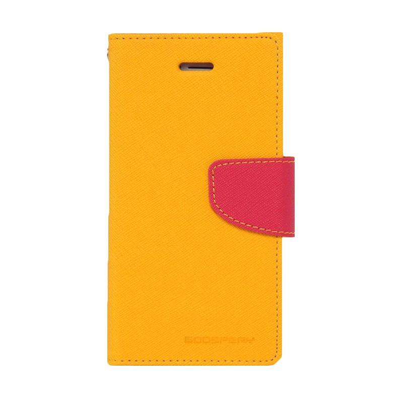 Mercury Goospery Fancy Diary Yellow Hot Pink Casing for Samsung Galaxy A7