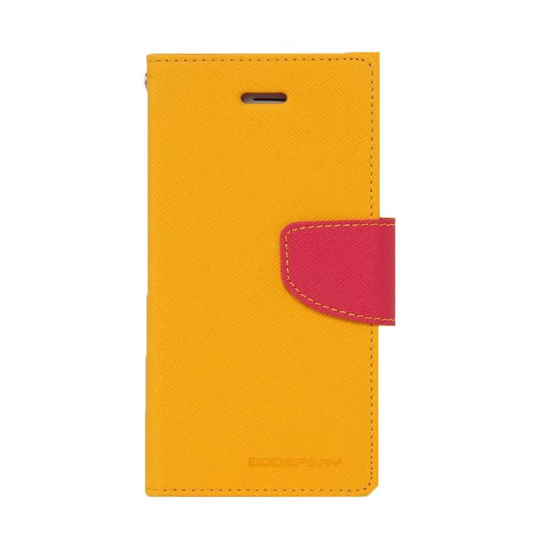 Mercury Goospery Fancy Diary Yellow Hot Pink Flip Cover Casing for Galaxy Note 4