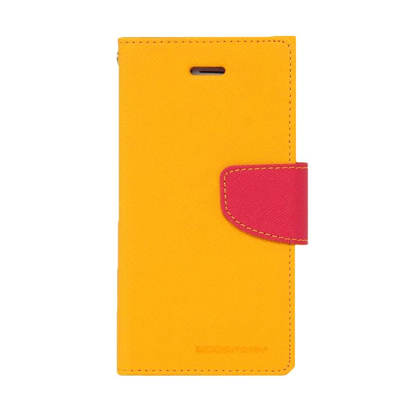 Mercury Goospery Fancy Diary Yellow Hot Pink Flip Cover Casing for Oppo R5