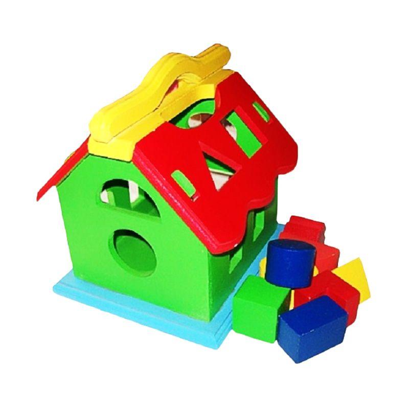 Gasa Kayu Rumah Geometri Mainan Anak