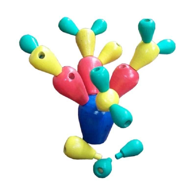 Mainan Kayu Cactus Stacking Balance Mainan Anak