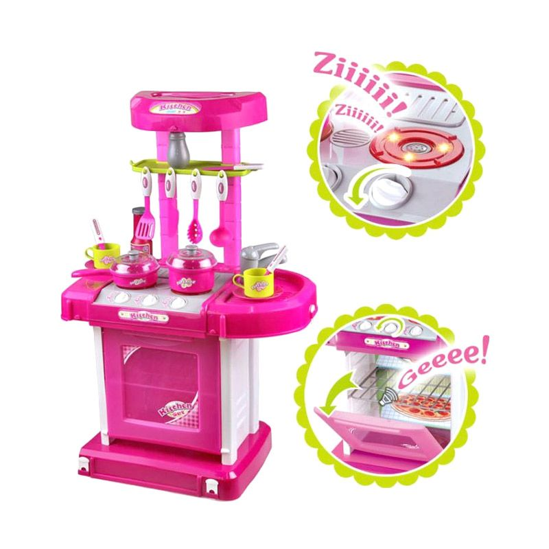 Jual tmo kitchen set koper pink mainan anak online harga for Kitchen set anak