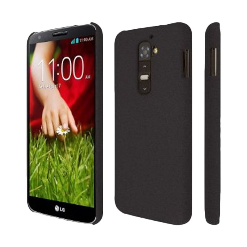 Rubberized Hardcase Hitam Casing for LG G2