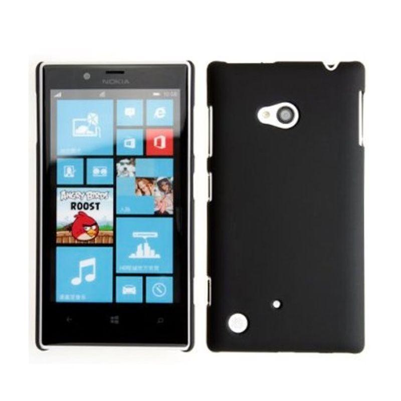 Rubberized Hardcase Hitam Casing for Nokia lumia 720