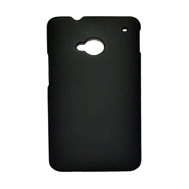 Rubberized Hitam Hard Case Casing for HTC One M7