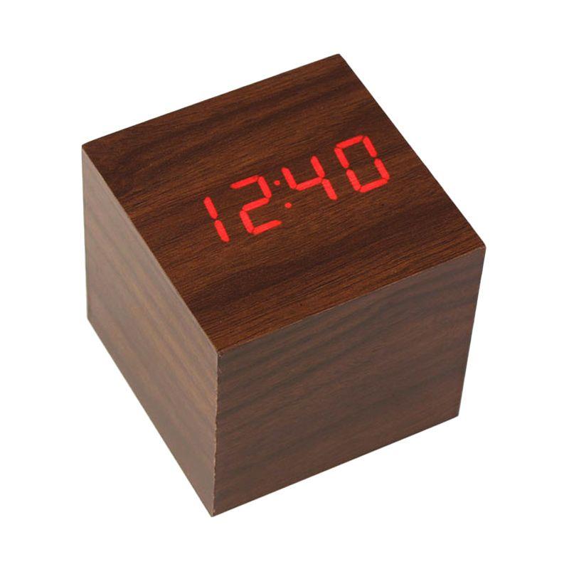 Kalno Woden Clock Coklat Jam