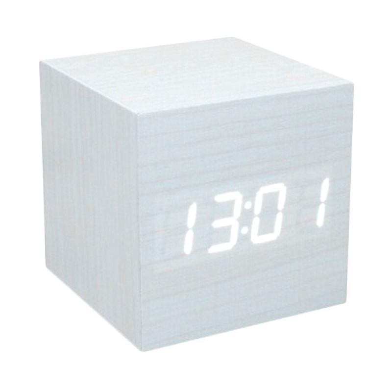Kalno Woden Clock Putih Jam