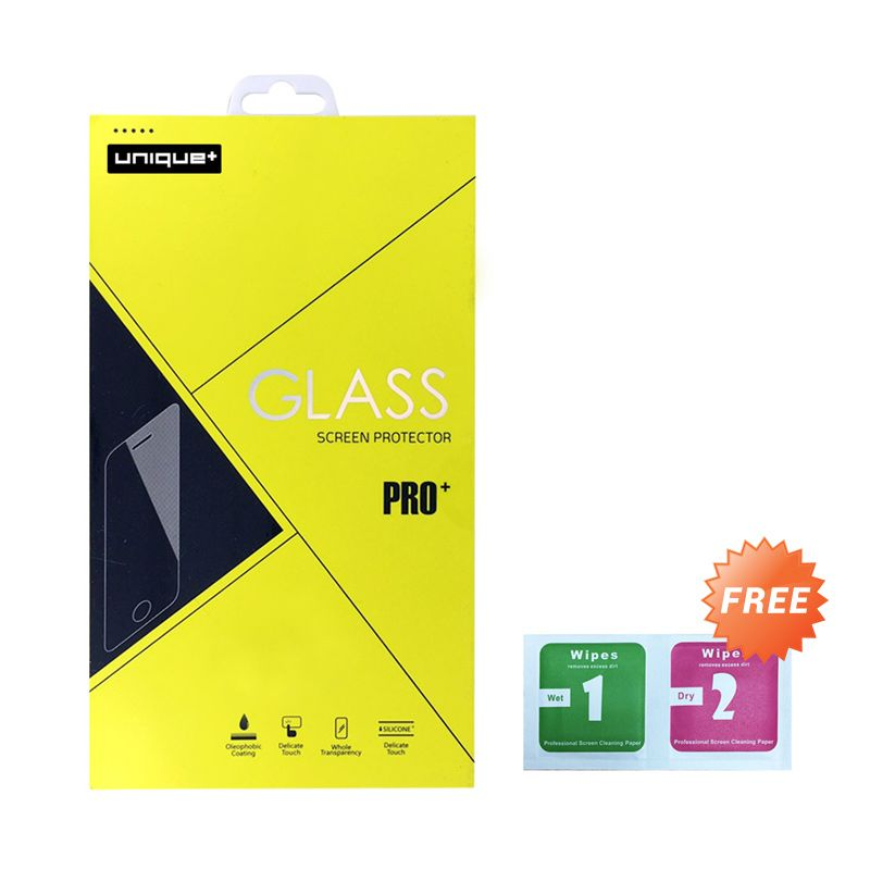 uNiQue High Quality Tempered Glass Screen Protector for Apple iPhone 6 Plus + Wet and Dry Cleaning Wipes