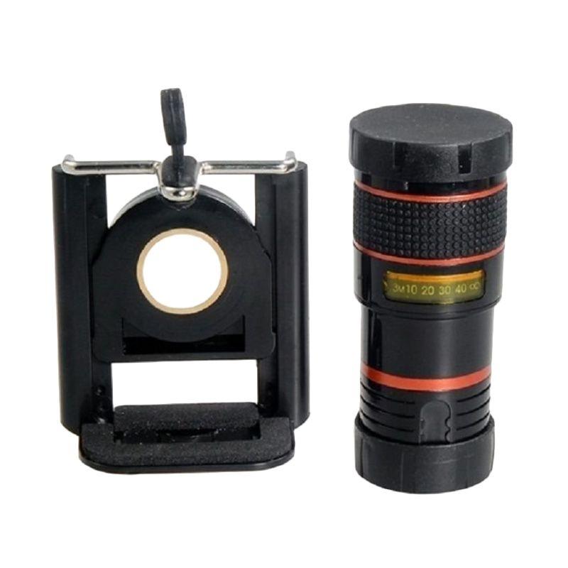 Tele Lens Zoom 8x Hitam Lensa Kamera + Tripod