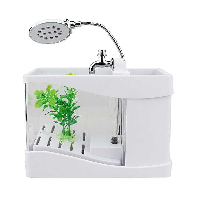harga TOKUNIKU USB Desktop Aquarium Mini Fish Tank with Running Water - Putih Blibli.com