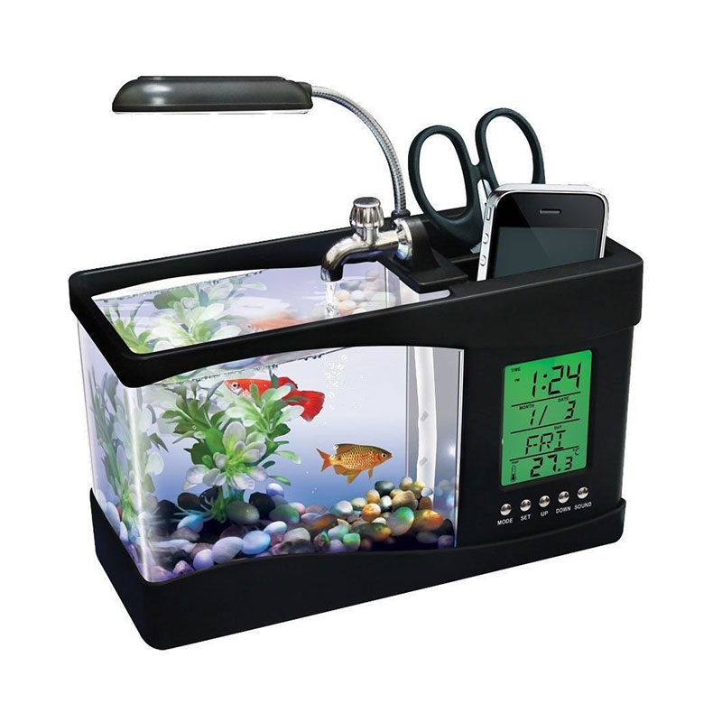 harga Tokuniku USB Desktop Aquarium Mini Fish Tank with Running Water - Hitam Blibli.com