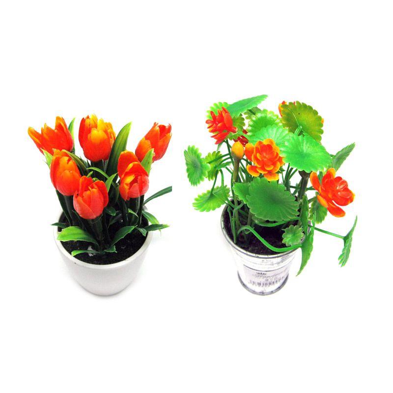 Tokyo1 Pot Hiasan Bunga Set [Orange Tulip dan Orange Lotus]