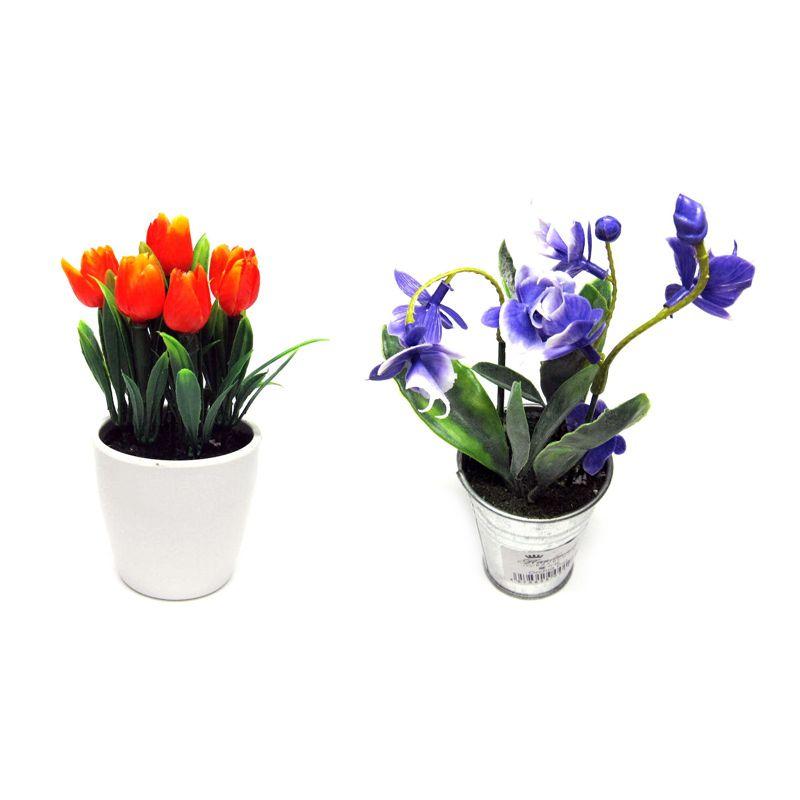 Tokyo1 Pot Hiasan Bunga Set [Orange Tulip dan Orchid]