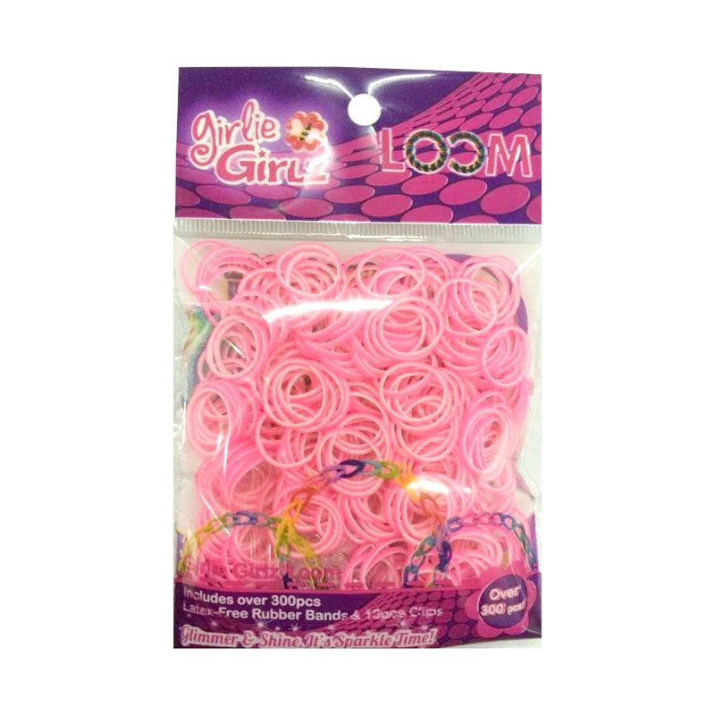 Girlie Girlz Double Colour Rubber Loom Band And Clip Refill Pack Pink Kerajinan Tangan