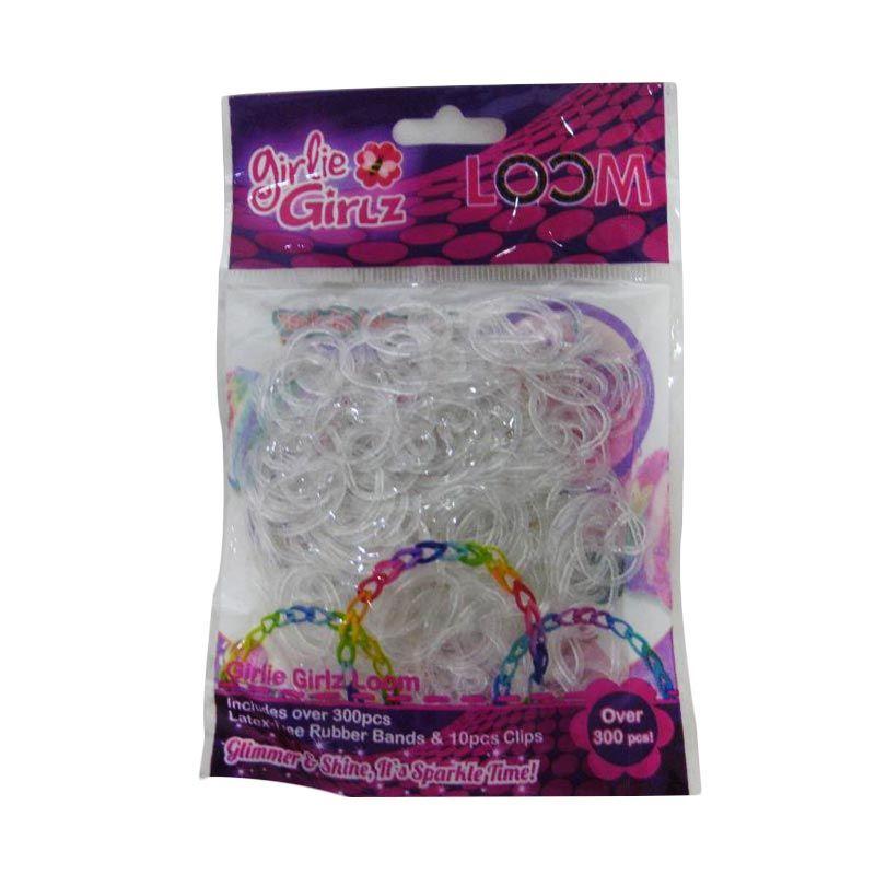 Girlie Girlz Glitter Rubber Loom Band & Clip Refill Pack