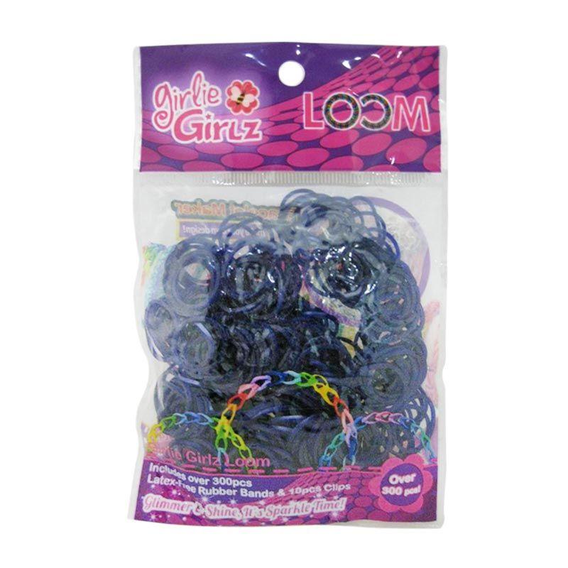 Girlie Girlz Metallic Rubber Loom Band And Clip Refill Pack Dark Blue Kerajinan Tangan