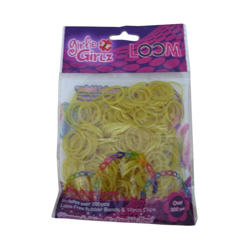 Girlie Girlz Metallic Rubber Loom Band And Clip Refill Pack Gold Kerajinan Tangan