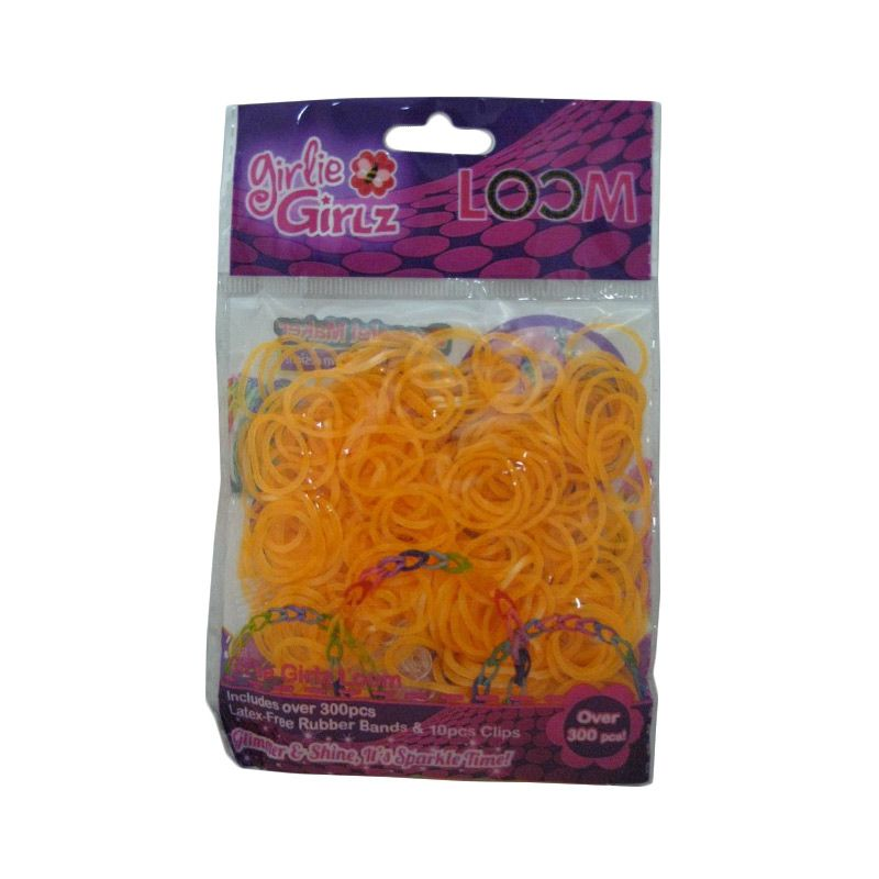 Girlie Girlz Metallic Rubber Loom Band And Clip Refill Pack Orange Kerajinan Tangan