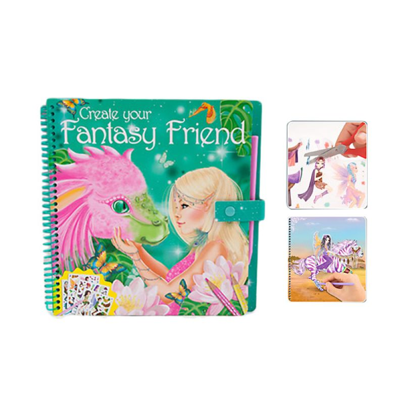 TOP Model Fantasy Friends Hijau Buku Mewarnai + Sticker dan Pulpen