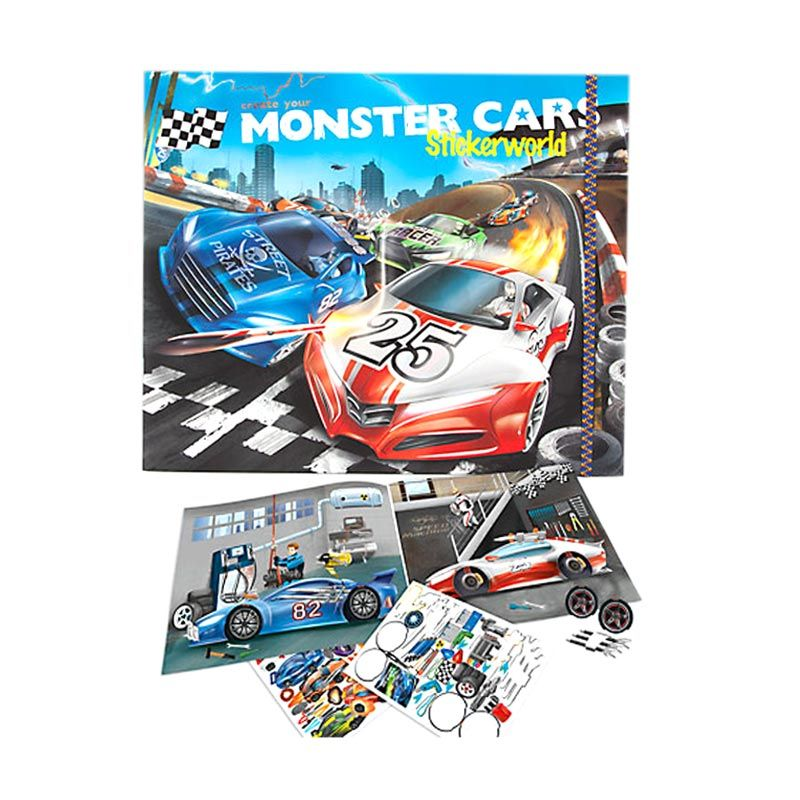 TOPModel Monster Cars Sticker World Mainan Anak