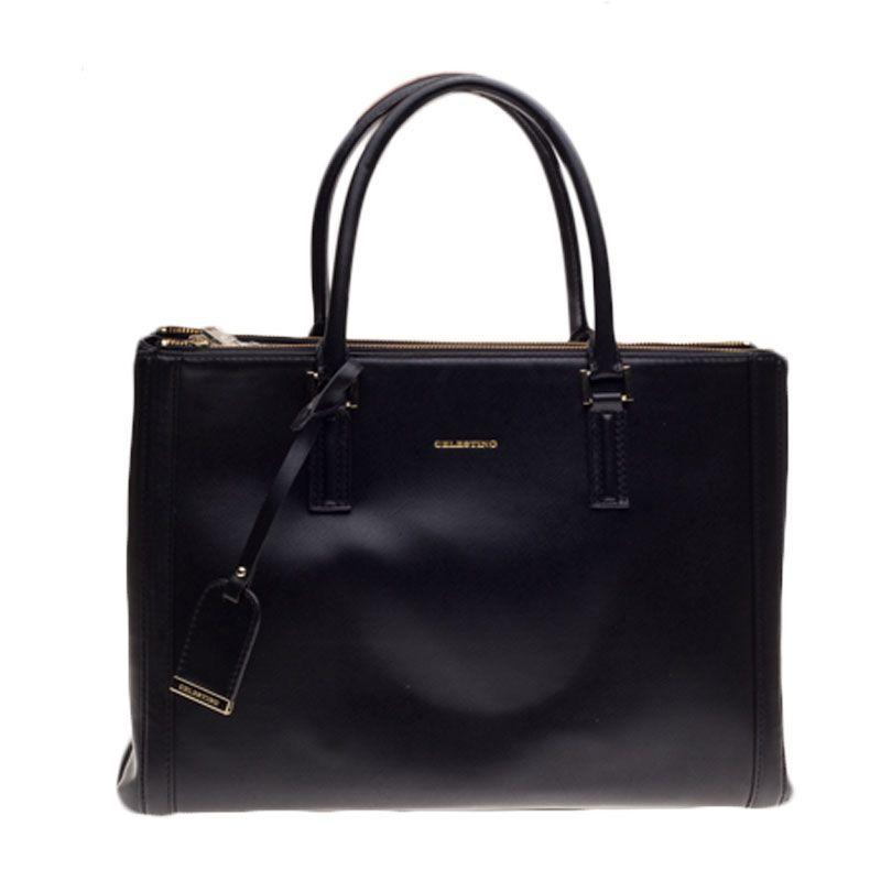 Celestino Madeline Black  Tote Bag Tas Tangan [L]