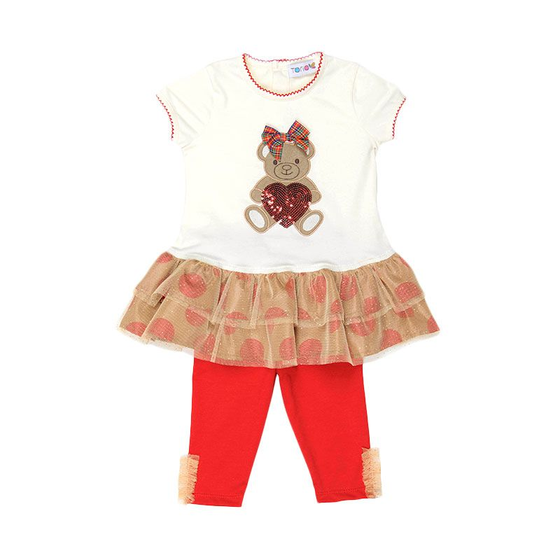 Torio Holiday Bear Tunic Setelan Anak