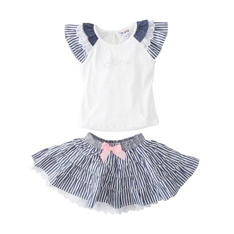 Torio Purity Flutter Top Skirt Blue White Setelan Bayi