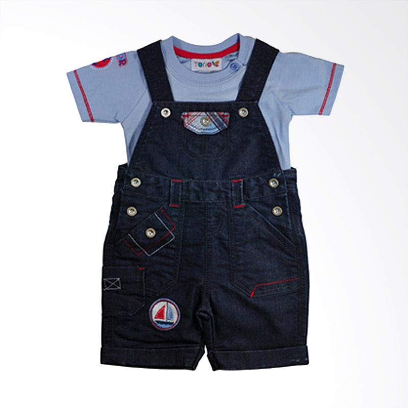 harga Torio Sailor Denim Dungaree Printed Set Baju Anak Blibli.com