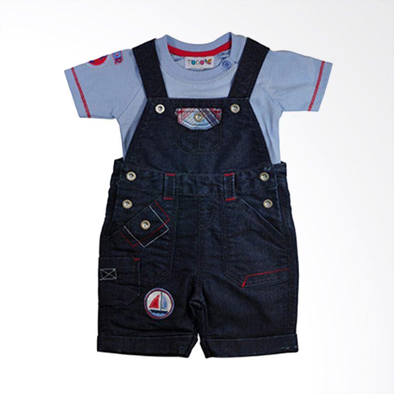 Torio Sailor Denim Dungaree Printed Set Baju Anak