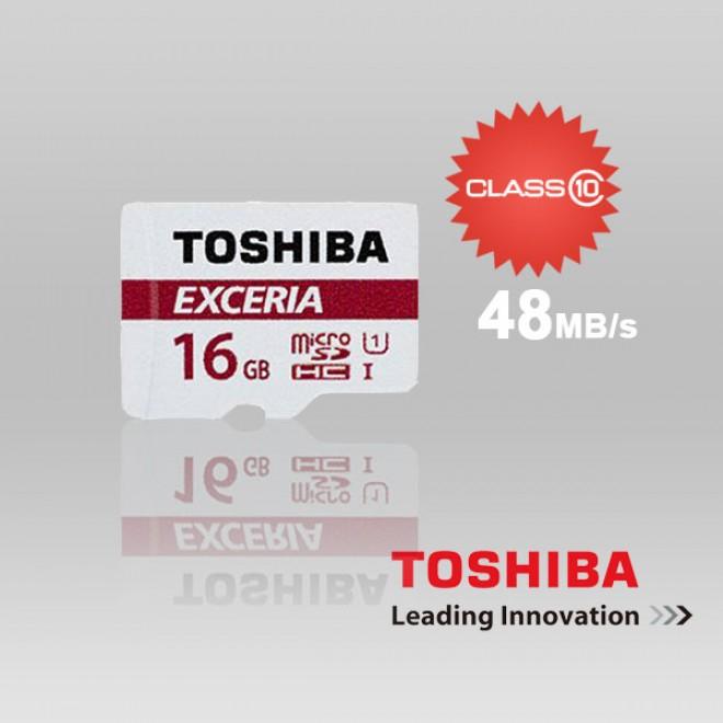 Toshiba MicroSD Exceria Class 10 Memory Card [16 GB/48 Mbps]