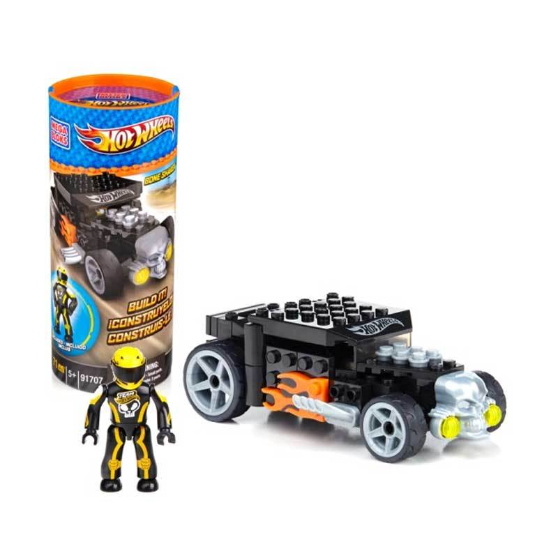 Mega Blocks Hotwheels Bone Shaker Yellow - Mainan Rakit
