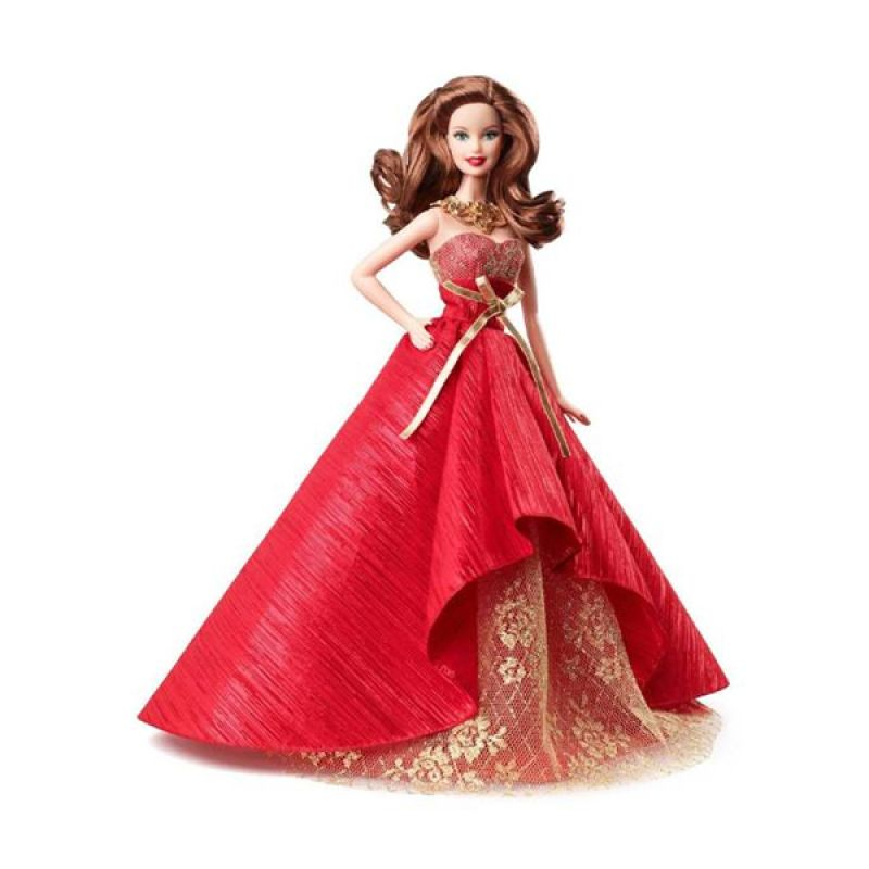 Barbie Collector 2014 Holiday Doll Brunette Red Gold Mainan Anak